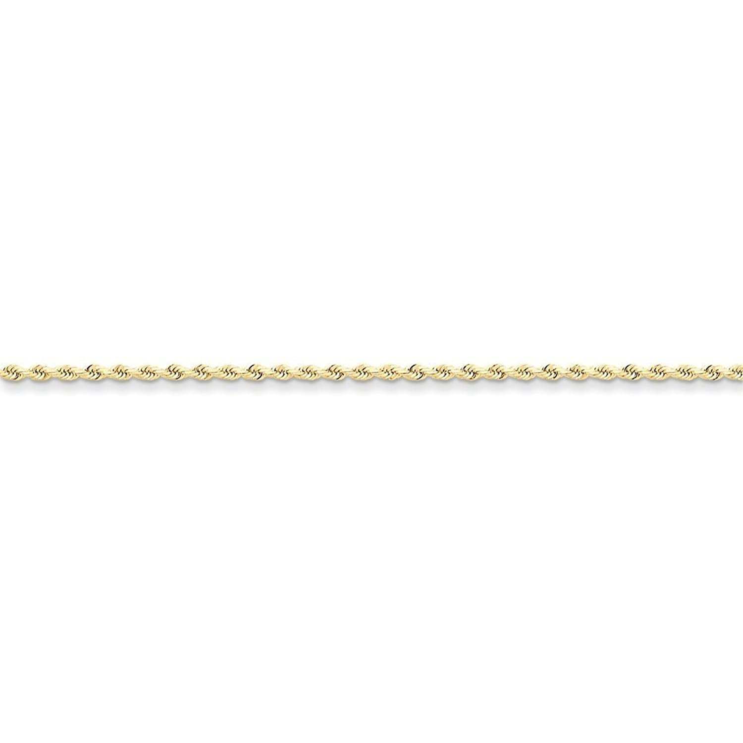 10K Yellow Gold 2mm Faceted-Cut Rope Chain Anklet, 9""