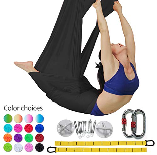 DASKING Premium Aerial Yoga Hammock Kit Flying Yoga Silk Kit (Black)