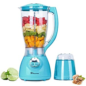MYONAZ Household Blender with A Grinding Cup Attachment Perfect for Shakes, Smoothies and Nut/Food Processor with 2 Liter of Blender Goblet High Speed Programmed Juice Blender, Smoothie Maker for Ice (Blue)