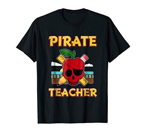 Pirate Teacher Funny Halloween T-Shirt Gift for Skull