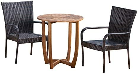 Christopher Knight Home 304298 Michael Outdoor 3 Piece Acacia Wood/Wicker Bistro Set