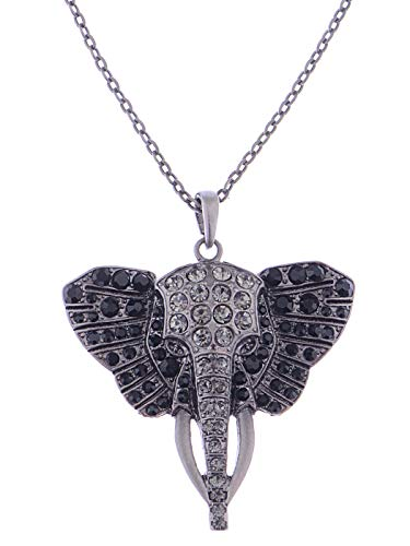 Alilang Womens Antique Silvery Tone Black Rhinestones African Elephant Head Pendant Necklace