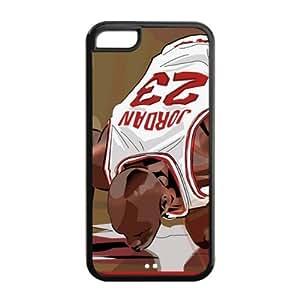 Chicago Bulls Michael Jordan Image Theme Back TPU Case for iPhone 5C-by Allthingsbasketball hjbrhga1544