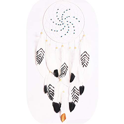 CHICIEVE Dream Catcher, Black White and Gold Feather Begie Dreamcatchers for Kids Baby Wall Hanging Decor - Dia 7.9 Inch
