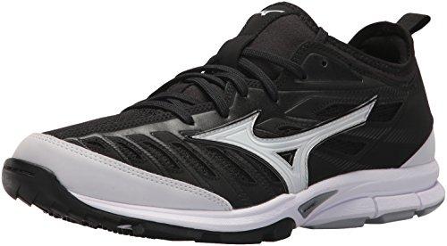 Mizuno Men's Players Trainer 2 Turf Baseball-Shoes,Black/White,12 D US