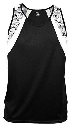 Badger Men's Aero Performance Singlet T Shirt, 2XL, Black/White/White Digital