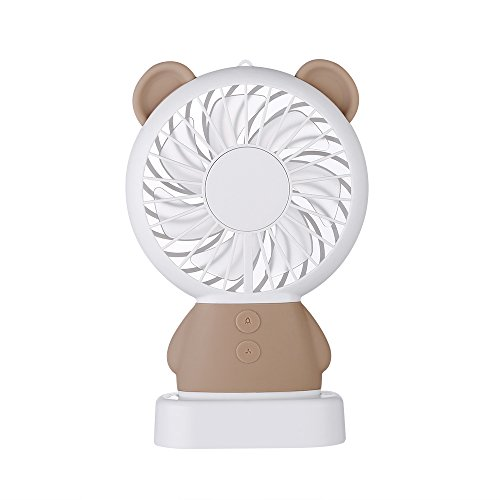 Innerest Mini Cooling Fan Personal Handheld Standable Multi-Color LED Lights 2 Adjustable Speeds Travel Camping Festival Uses (Mini One Size, Bear- Brown)