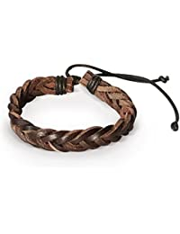 Mens Leather Bracelet Braided Wristband