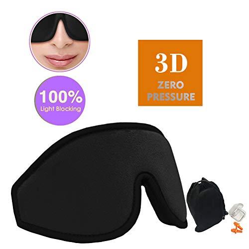 3D Sleep Mask ALLWINS Eye Mask-2018 New Design-Upagraded Zero Pressure on Sleep Mask for Women and Men,FlightsTravel and Shift Work,Handmade Material Safety,SoftLight and Comfortable (BLACK)