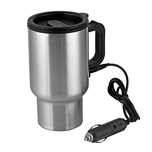 Stainless Steel Heated Coffee Cup - Carperipher 12V Car Heated Mug Tech Tool Stainless Steel Travel Electric Cup Vacuum Thermos Smart Temperature Control for Heating Water, Coffee, Milk and Tea with Airtight Lid, Auto Charger