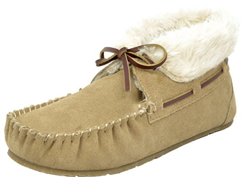 DREAM PAIRS Women's Shozie-02 Sand Faux Fur Slippers Loafers Flats Booties - 9.5-10 M US
