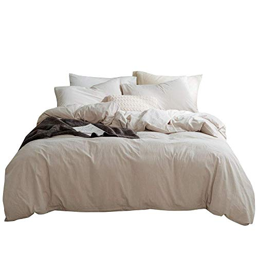 mixinni Luxury Solid Color 3 Pieces Beige Duvet Cover Set Queen 100% Natural Washed Cotton 1 Duvet Cover 2 Pillowcases Hotel Quality Soft Breathable Hypoallergenic Zipper Ties-(Full/Queen, Beige)