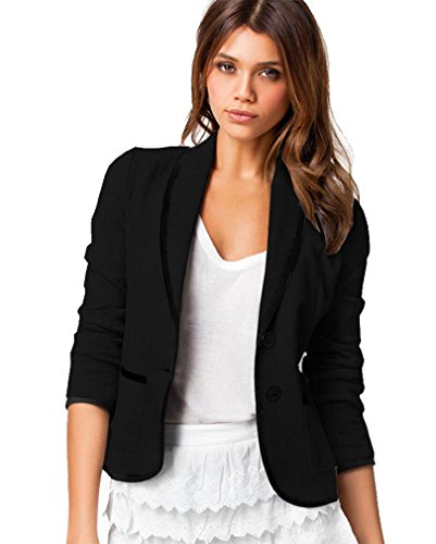 Damen Frauen Elegant Langarm Blazer mit zwei Knöpfen Kurzjacke Anzug Outwear Mantel Jacke Jäckchen Tops