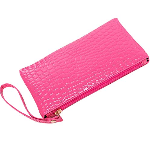 Lljin Women Crocodile Leather Clutch Handbag Bag Coin Purse (Hot Pink)