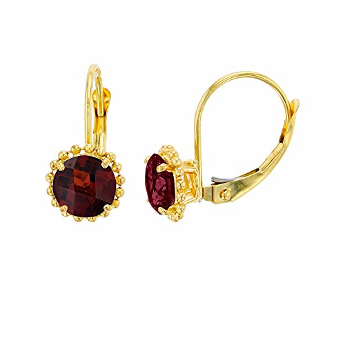 (10K Yellow Gold 6mm Round Garnet Center Stone Bead Frame Leverback Earring)