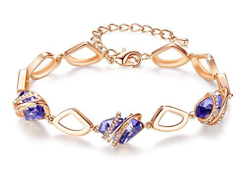 Leafael [Presented by Miss New York] Wish Stone Made with Swarovski Crystals Focal Shape 18K Rose Gold Plated Tanzanite Purple Bracelet, 7