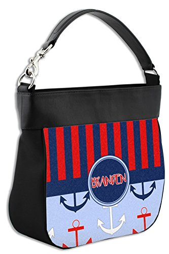 Trim amp; Genuine Stripes Front Anchor Personalized Leather w Hobo Classic Purse w1q8xZWg