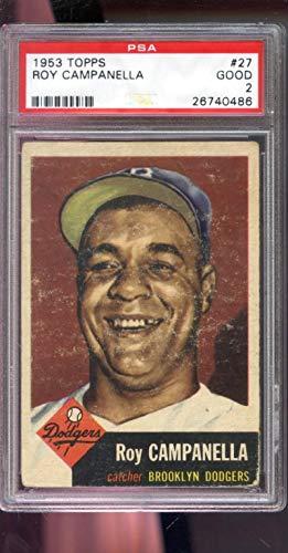 - 1953 Topps #27 Roy Campanella Brooklyn Dodgers MLB PSA 2 Graded Baseball Card
