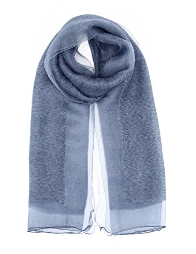 - Double Layer Silk Scarf For Women Sheer Voile Luxury Lightweight Shawl Wrap Head Hijab Muslim Scarfs By J'Mysticon (BLUE)