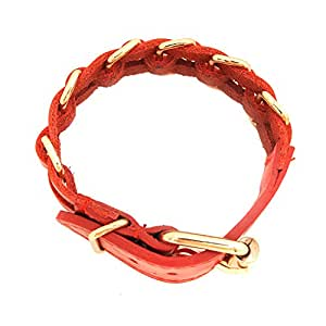 Spinningdaisy Aesthetic Beauty Minimal Link Leather Bracelet Red Color