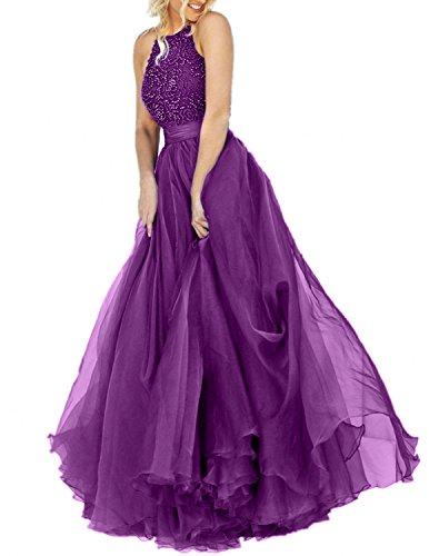 Linie Festlichkleider Perlen Prinzess Brau Rock A mia Damen Promkleider Abendkleider La Abschlussballkleider Violett Langes w4PqHBFc8