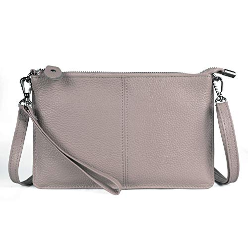 Befen Women's Leather Wristlet Mini Crossbody Bag, Small Crossbody Clutch Purse with Card Slots (Light Beige Pink) ()