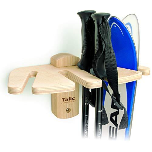 (Talic SRWV2 Ski Rack- Wall Ski Rack - Holds Downhill, Parabolic, X-Country skis - Ski Storage/Organizer - Ski Display - Quick Installation - Heavy Duty Ski Holder - Holds 2 Pair skis & Poles )