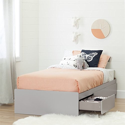 """South Shore 10578 39"""" Cookie Mates Bed with 3 Drawers, Twin, Soft Gray"""