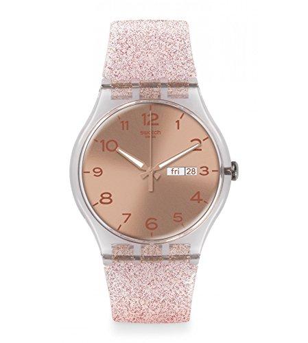 Swatch Unisex Pink Glistar Watch with Sparkling Band SUOK703 (Unisex Pink Watch)