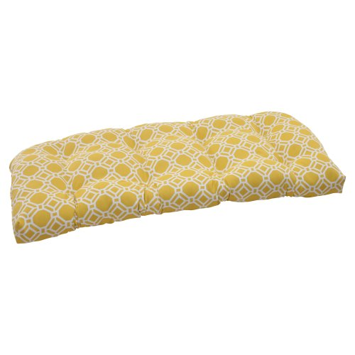 Pillow Perfect Outdoor Rossmere Wicker Loveseat Cushion, Yellow ()