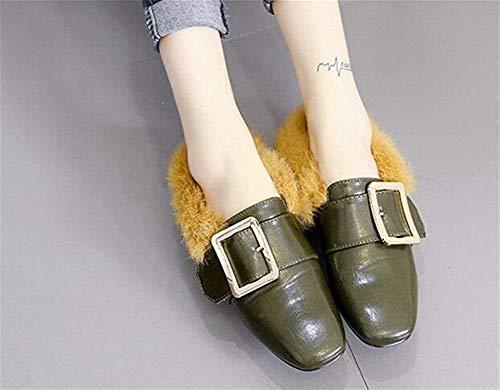 Rétro Demi Pantoufles 38 Avec Chaussures Femmes Épais 's Eu Femme Boucle Deed Traîné Carré q1XFZAxw