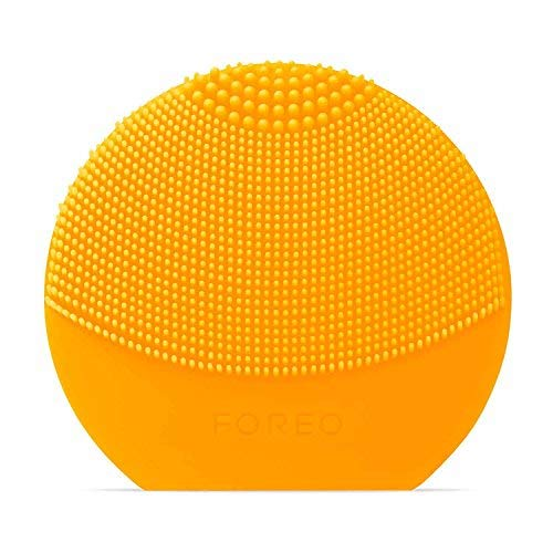 FOREO Luna Play Plus Portable Facial Cleansing Brush Waterproof Skin Care Device with Replaceable Battery, Sunflower Yellow