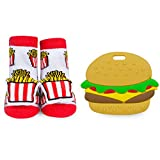 WADDLE Unisex French Fry Rattle Cartoon Socks and Silli Chews Hamburger Baby Teether Silicone Teething Toy Infant Pain Relief Soother Newborn Funny Food Gift Set