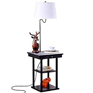 Brightech – Madison LED Floor Lamp with USB Charging Ports – Mid Century Modern Bedside Nighstand Table – End Table with Shelves for Living Room Sofas – White Shade