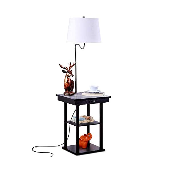 Brightech Madison Led Floor Lamp With Usb Charging Ports Mid Century Modern Bedside Nighstand Table End Table With Floor Lamps For Living Room