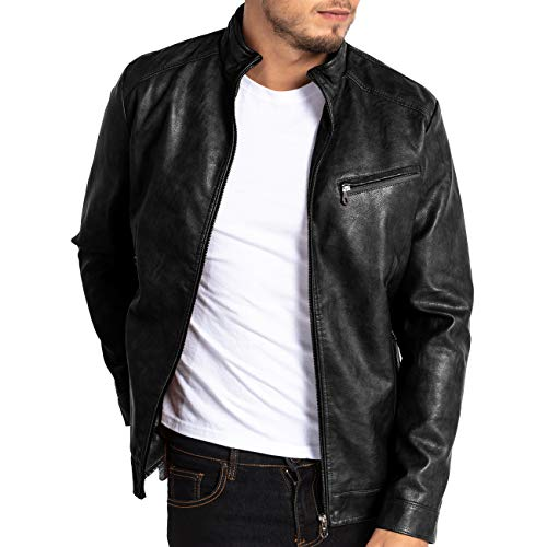 MAGE MALE Men's PU Leather Jacket Vintage Stand Collar Motorcycle Jacket Slim Fit ()