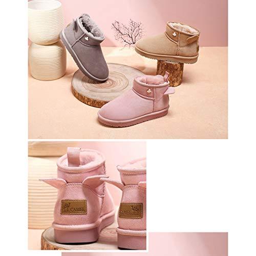 Stivali Scarpe Calzature color 40 Pink Da Casual Size Outdoor Velluto E Cotone Neve Gray Piatto Camping Donna Scarpette b Antiscivolo Fondo Impermeabili Più Stivaletti fdqHdvB