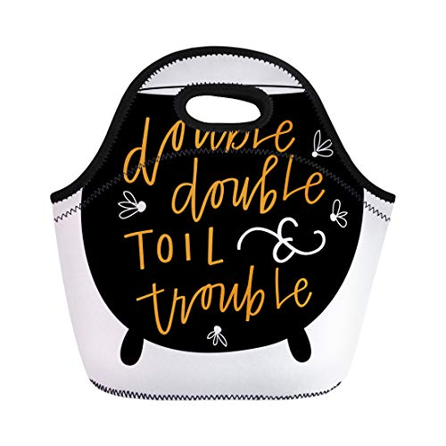 Semtomn Neoprene Lunch Tote Bag Orange Black Double Toil and Trouble Pot Cauldron Cursive Reusable Cooler Bags Insulated Thermal Picnic Handbag for Travel,School,Outdoors,Work ()