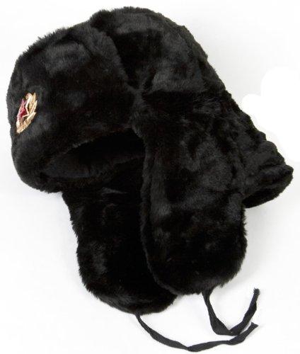 Russian Military Style Winter Hat USHANKA size 60 (L) BLACK