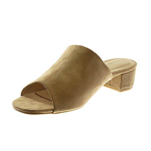 Mules Scarpe Blocco Alto Toe Sandali Donna cm Angkorly a on Slip Peep Moda Khaki Tacco 4 dqBWPct
