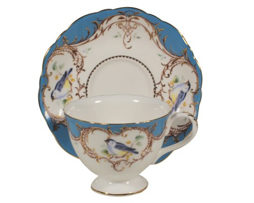 Edge China Saucer - Gracie China by Coastline Imports 7-Ounce Tea Cup and Saucer Scallop Edge, Peacock Blue Bird
