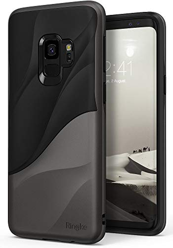 Ringke Wave Compatible with Galaxy S9 Case Dual Layer Heavy Duty 3D Textured Shock Absorbent PC TPU Full Body Drop Resistant Protection Cover for Galaxy S 9 (2018) - Metallic Chrome