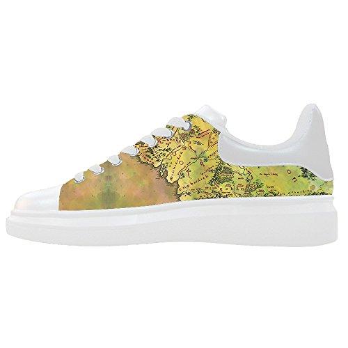 Scarpe Del Canvas Scarpe Shoes Women's Mappa Mondo Custom Le 7HqwvO4F