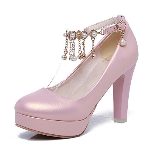 MEI&S Bloc de Femmes Talons Chaussures de Plate-Forme Peu Profonde Bouche Pink RCytc