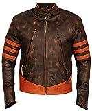 Wolverine X Men Origins Biker Distressed Real Leather Jacket - Brown Leather Outfit Jacket