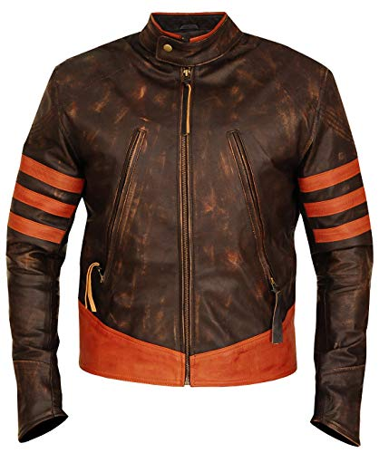 Wolverine X Men Origins Biker Distressed Real Leather