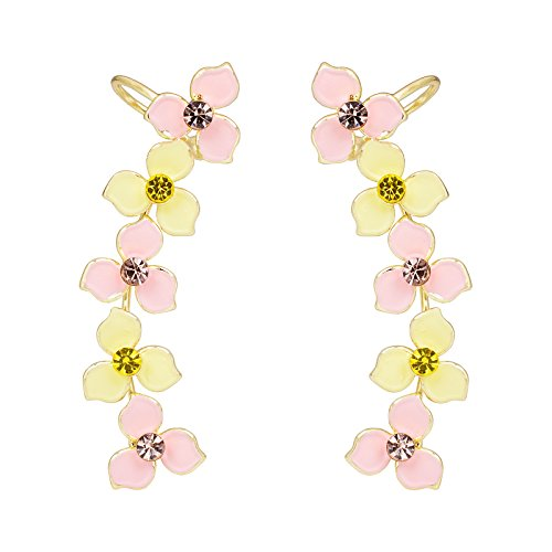 Clover Ear Cuff - OBONNIE Women Crystal Four Leaf Clover Ear Crawler Earrings Flower Climber Ear Cuff Rhinestone Wrap Pin (Yellow)