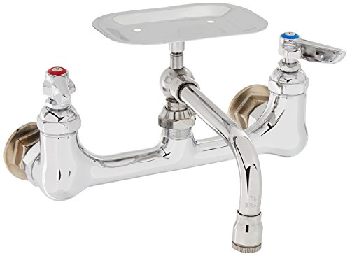 T&S Brass B-0233-01 Wall Mount 8-Inch Centers 6-Inch Swing Nozzle Double Pantry Faucet with Soap Dish ()