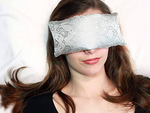 (Handmade Eye Pillow by Candi Andi - Yoga/Therapy - Microwavable Hot/Cold - Flax Seed Filled - Colorful Satin Brocade and Crushed Velvet - Unscented or Lavender Scented - Pewter Paisley - TEP-PP)