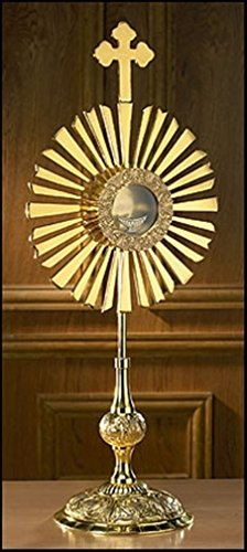(Stratford Chapel Polished Brass Large Cross Monstrance with Luna, 30 Inch )